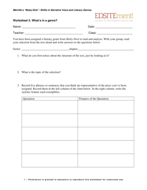 Fillable Online Worksheet 5 Whats in a genre Name Date
