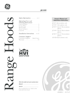 Fillable Online 49-80424-1 GE Range Hood Owners Manual