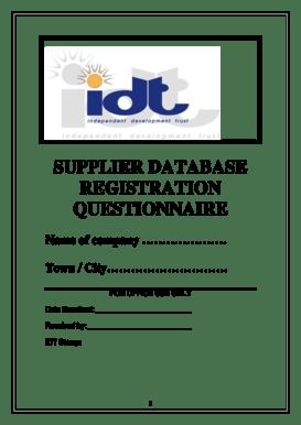 Fillable Online idt org SUPPLIER DATABASE REGISTRATION
