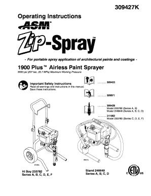 Fillable Online 309427K ASM Zip-Spray 1900 Plus Airless