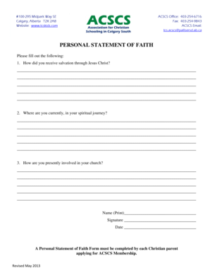 Editable how to write a statement of faith for a job