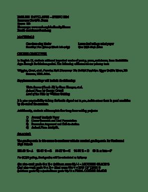Fillable Online scsb ENGLISH 12 SYLLABUS SPRING b2014b
