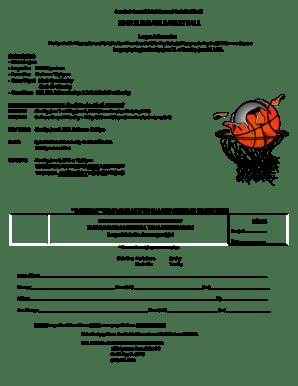 Fillable Online rsrpd Adult Basketball Registration Form