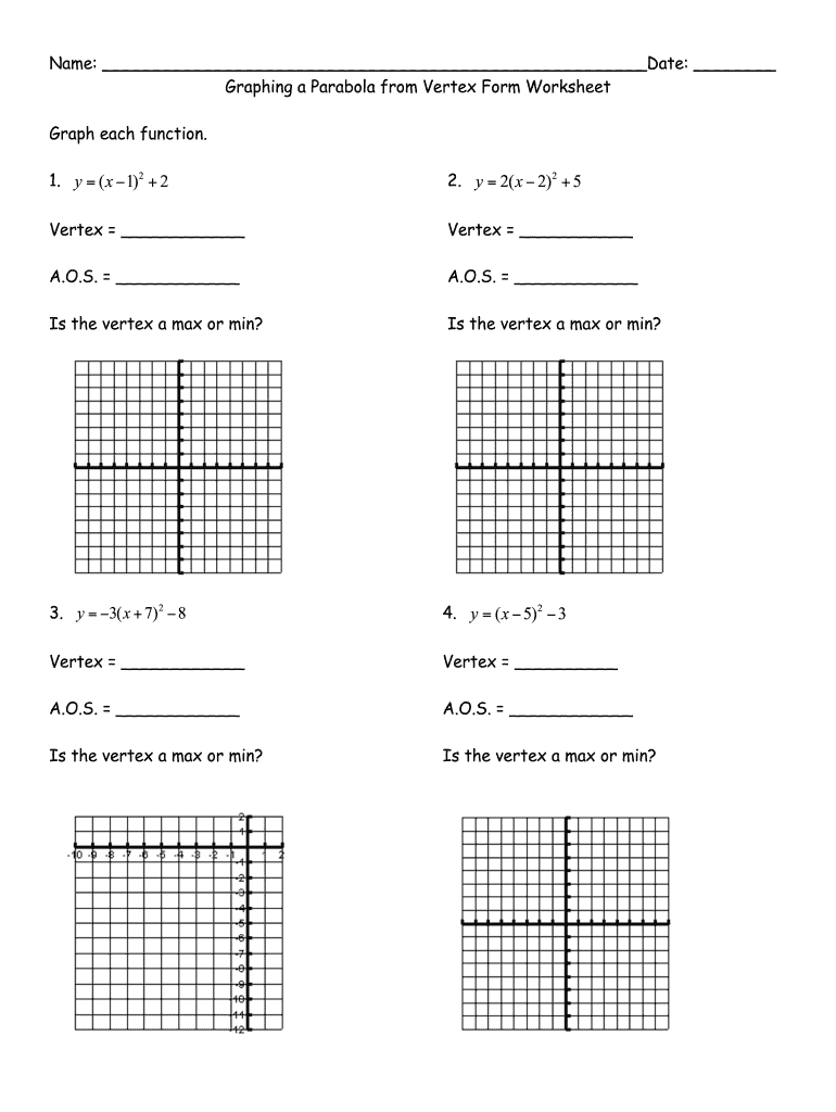Graphing Quadratic Functions In Vertex Form Worksheet