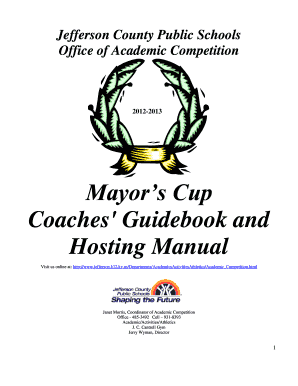 Fillable Online Jefferson County Public Schools Mayors Cup