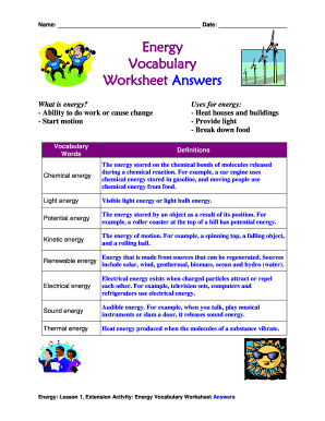Fillable Online Energy Vocabulary Worksheet Answers Fax