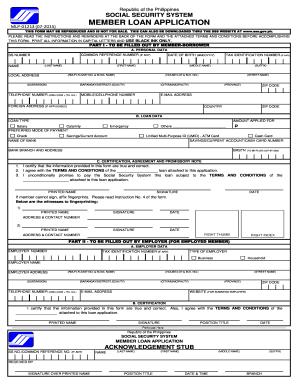 2015-2019 Form PH SSS Member Loan Application Fill Online ...