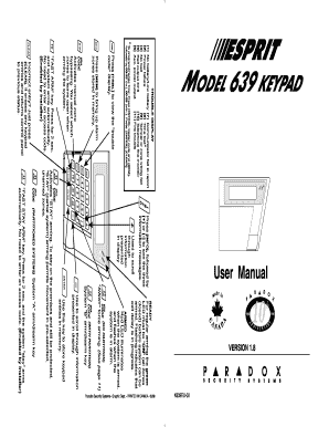 Fillable Online Paradox Esprit 639 LCD Keypad User Manual