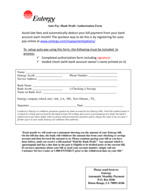 Fillable Online Bank Draft Authorization Form Entergy Louisiana Fax Email Print Pdffiller