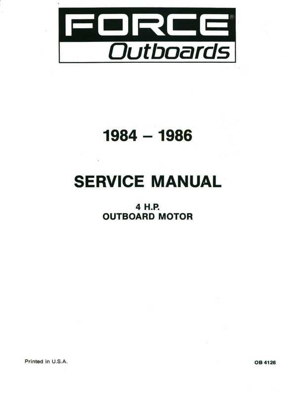 1984-1986 Mercury Force 4HP Outboards Service Manual image