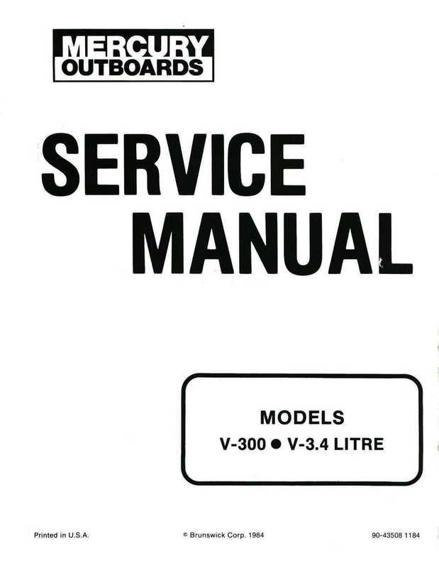 1985 Mercury Outboard V-300 V-3.4L Shop Service Manual