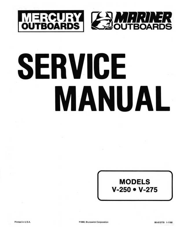 Mercury Mariner V-250 V-275 Outboard Service Shop Manual