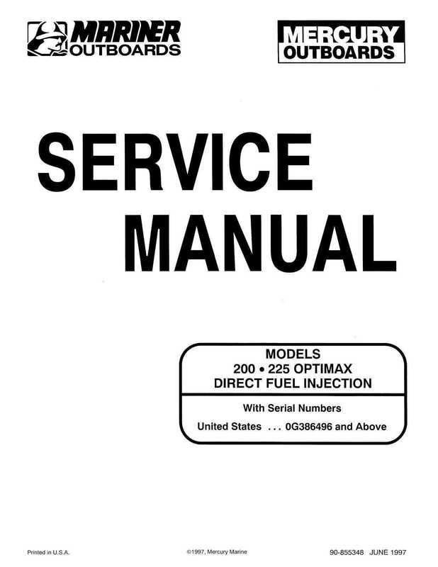 Mercury Mariner 200, 225 Optimax Outboards Service Manual