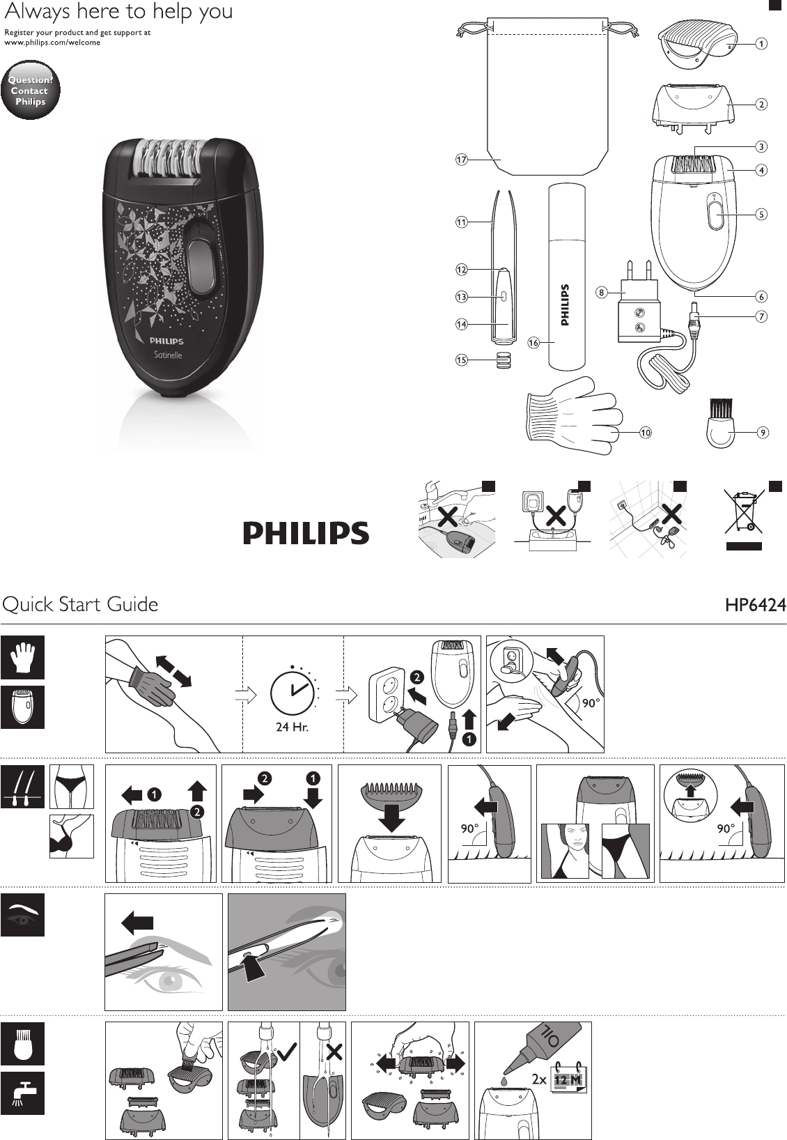 Manual Philips Satinelle HP6424 (7 sider)