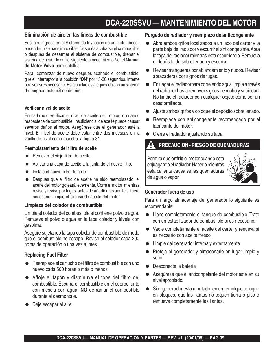 hight resolution of 1dca 220ssvu mantenimiento del motor multiquip mq power series whisperwatt gernator dca 220ssvu manual del usuario p gina 39 84