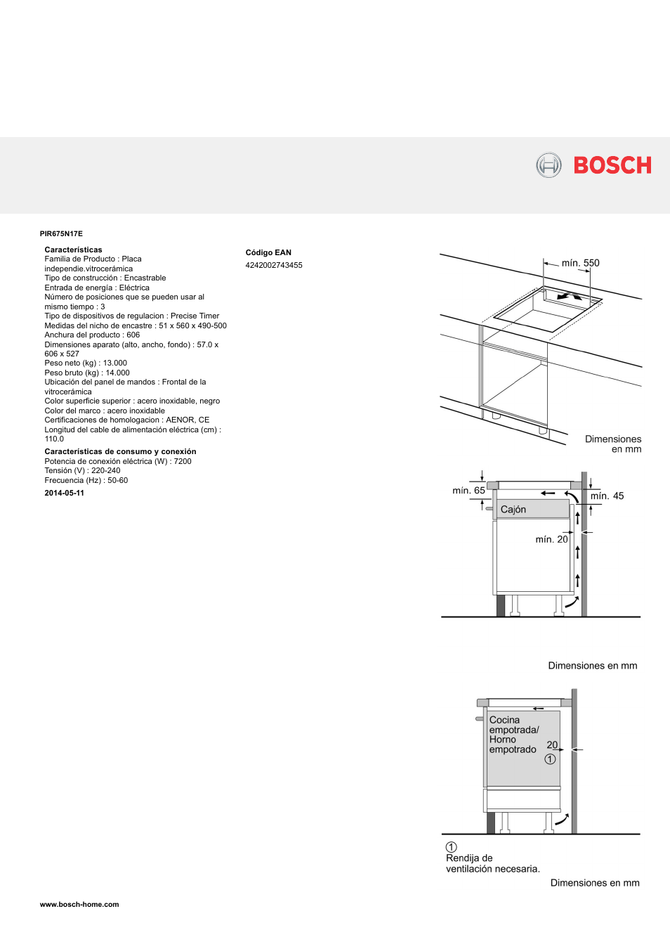 Bosch PIR675N17E Inducción 60 cm de ancho Terminación