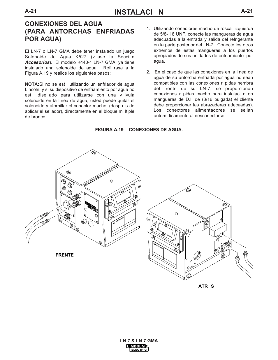 hight resolution of instalaci n lincoln electric im351 ln 7 gma wire feeder manual del usuario