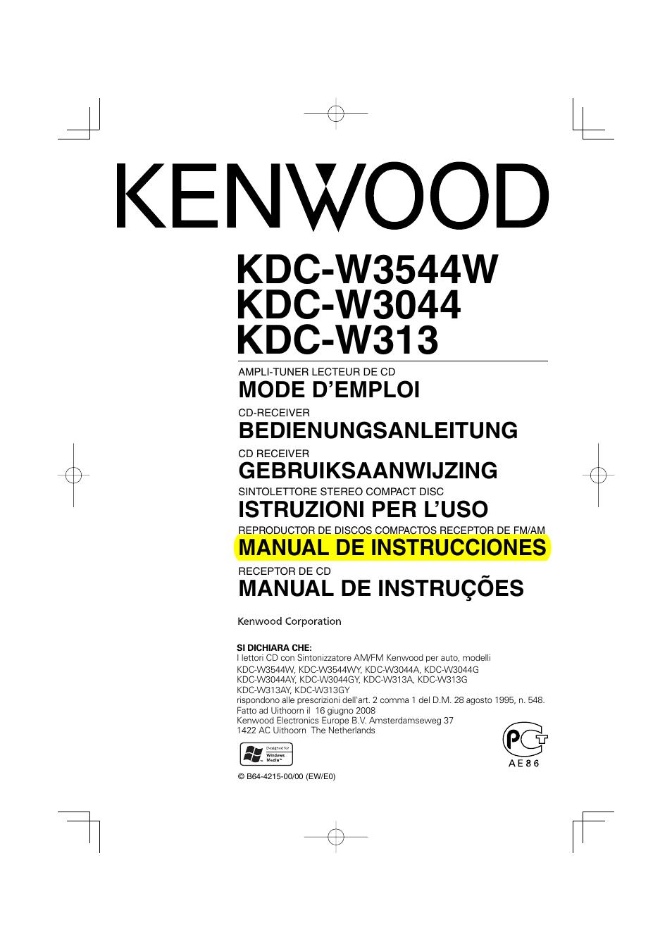 Bedienungsanleitung Kenwood Kdc W3044