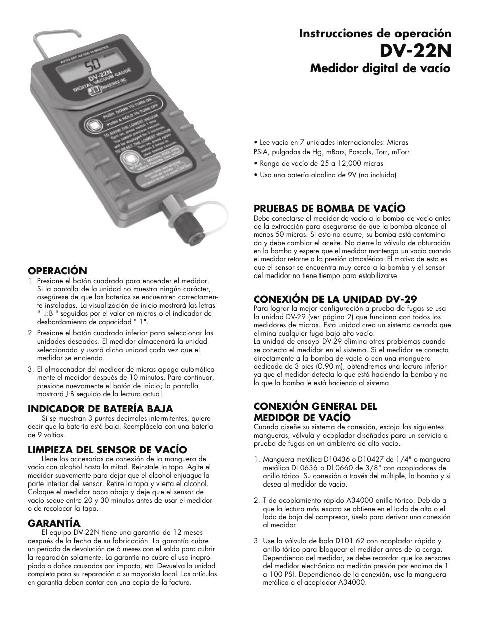 Just Better DV-22N Digital Micron Gauge Manual del usuario