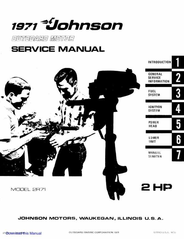 1971 Johnson 2HP outboards Service Manual image 1 preview
