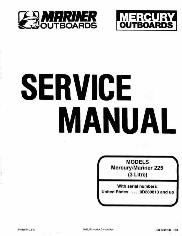 Mercury Mariner Outboard 225 3 Litre Service Manual 1994
