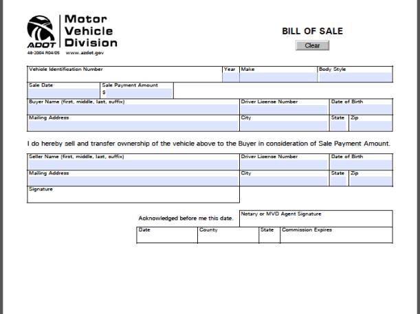 bill of sale arizona Arizona Bill of Sale Form - Free Fillable PDF Forms | Free Fillable ...