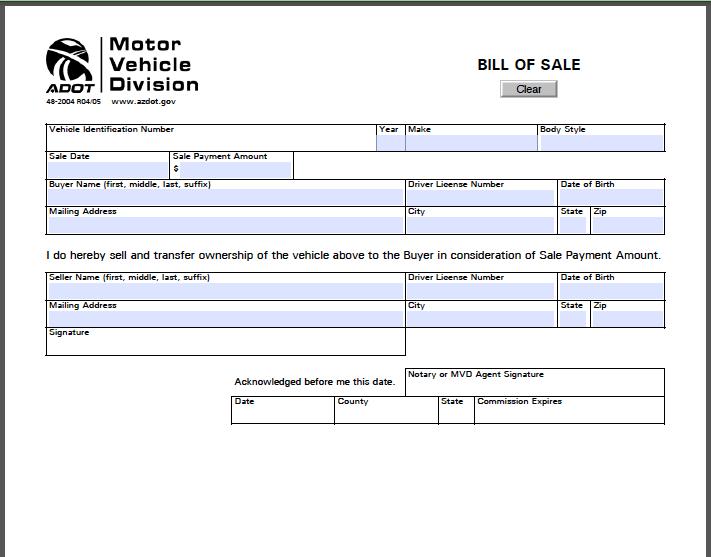 Arizona Bill of Sale Form | Free Fillable PDF Forms