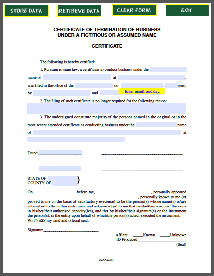 Business Termination Certificate Template