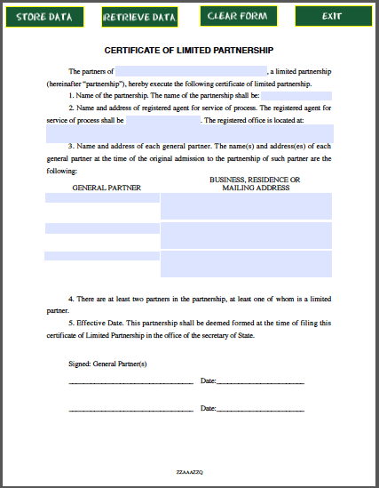 Limited Partnership Certificate Template Free Fillable Pdf Forms