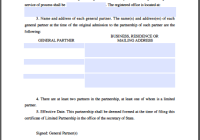 Limited Partnership Certificate Template