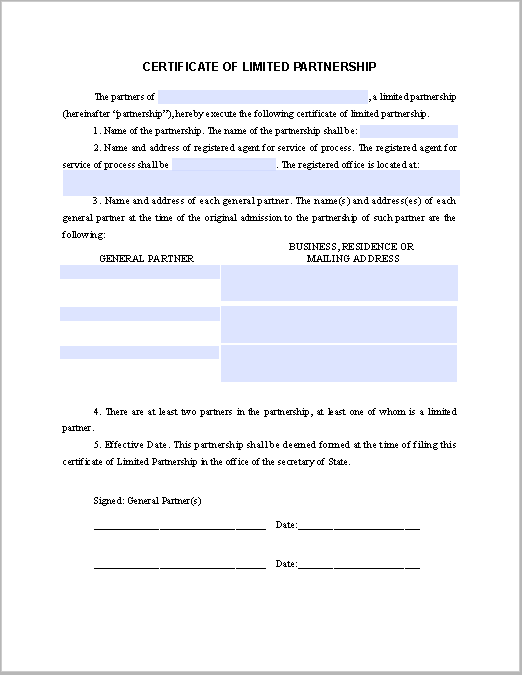 certificate of incumbency template free - limited partnership certificate template free fillable