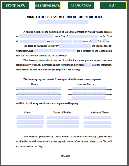 Stockholders Special Meeting Minutes Form - Free Fillable PDF Forms ...