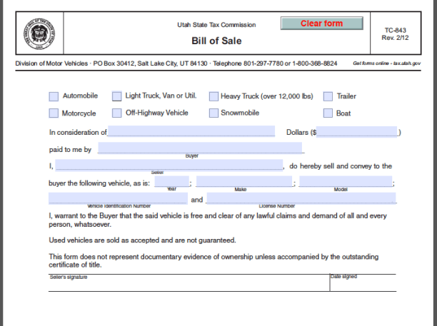 utah bill of sale form free fillable pdf forms free fillable pdf