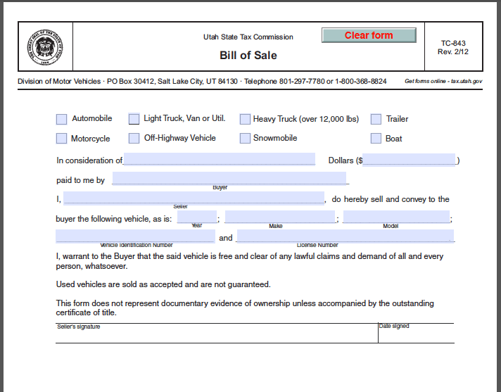 Utah Bill Of Sale Form