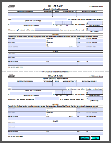 dmv bill of sale form ca California Vehicle Bill of Sale Form - Free Fillable PDF Forms ...