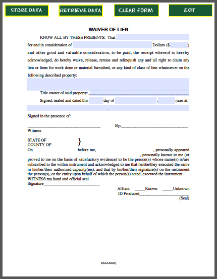 Waiver of lien certificate template free fillable pdf forms for Final lien waiver template