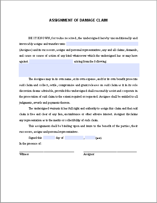 Assignment of damage claim free fillable pdf forms free fillable assignment of damage claim free fillable pdf forms free fillable pdf forms platinumwayz