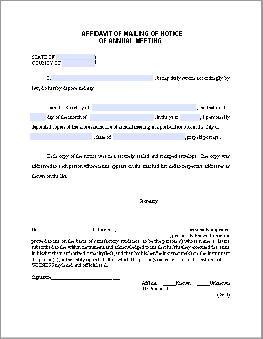 Affidavit Form For Mailing Of Notice Of Annual Meeting  Free Affidavit Form