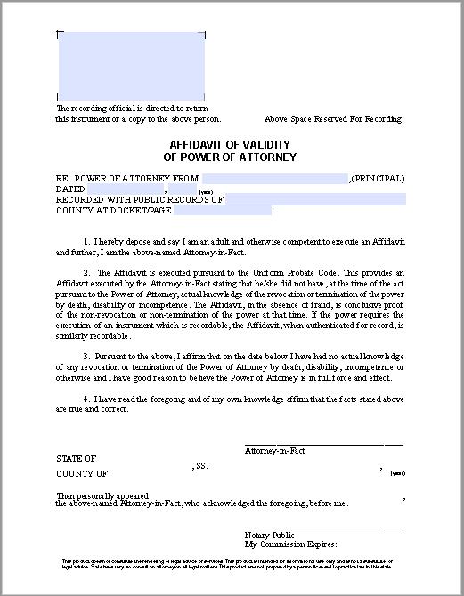 affidavit of validity of power of attorney