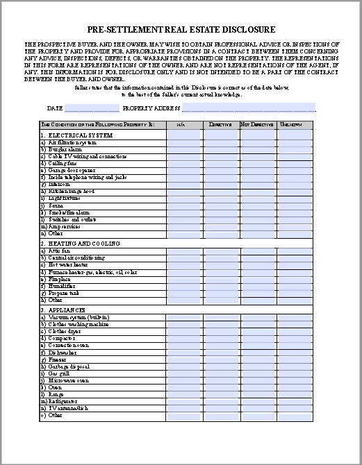 Pre-settlement Real Estate Disclosure Agreement Template