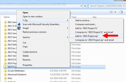 Zip a project folder (7-zip shown)