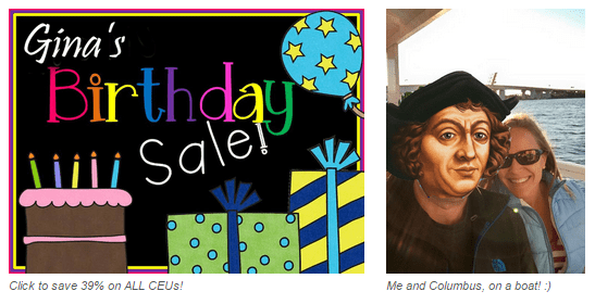 Gina' Birthday & Columbus Day Sale