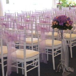 Wedding Chair Sash Covers For Wingback Chairs Sashes Platinum Designs Linens Rentals Greater Lavender Organza Tied Onto Chiavari