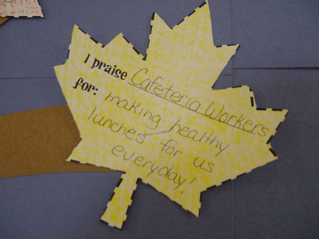 A leaf on the praise tree holds a compliment for the cafeteria staff for the hard work they do