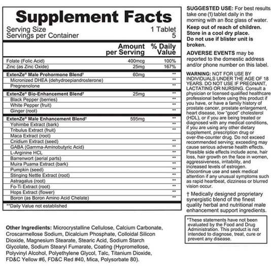 Extenze Facts and Label