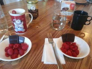 Organic tea, organic raspberries, and holiday chocolate.