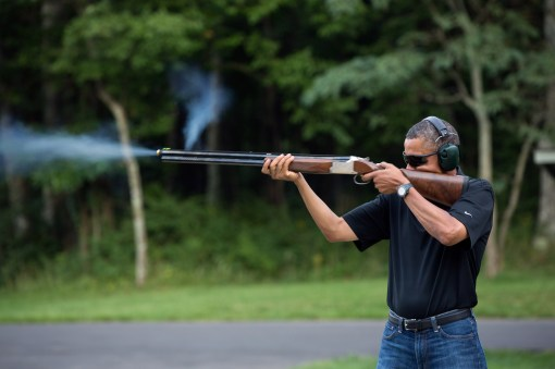President Barack Obama shoots clay target on the range at Camp David, Md., Saturday, Aug. 4, 2012. (Official White House Photo by Pete Souza)