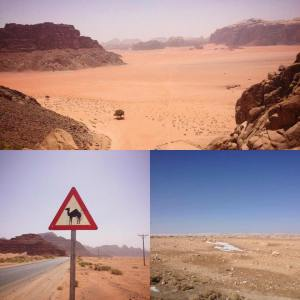 Jordan's deserts are ideal for solar panel generation. Wadi Rum (top), camel crossing sign near Wadi Rum (bottom left) and patches of snow near Ma'an (bottom right). PC: Eddie Grove
