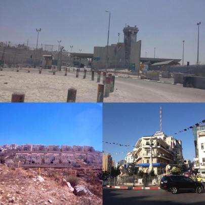 Checkpoint between Ramallah and Jerusalem (top), the Israeli settlement of Beitar Illit (bottom left),  and downtown Ramallah (bottom right). To ensure domestic quiet, Jordan ideally wants positive progress on the Israeli-Palestinian conflict. PC: Eddie Grove