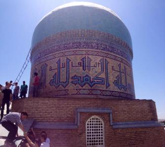 The 15th Century Timurid Kok Gonbaz Madrasa in Istaravshan, Tajikistan. PC: Eddie Grove
